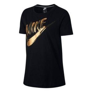 Nike Tops - NIKE Metallic Short Sleeve Gold Logo Tee Shirt